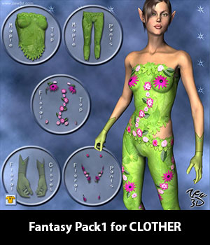 Fantasy Pack1 for CLOTHER 3D Figure Assets zew3d