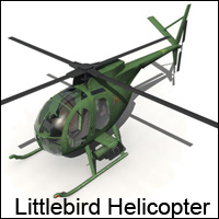 Littlebird Helicopter (Poser, OBJ & Vue) Stand Alone Figures Transportation Themed RPublishing