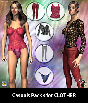 Casuals Pack3 for CLOTHER 3D Figure Assets zew3d