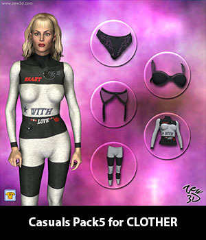 Casuals Pack5 for CLOTHER 3D Figure Assets zew3d