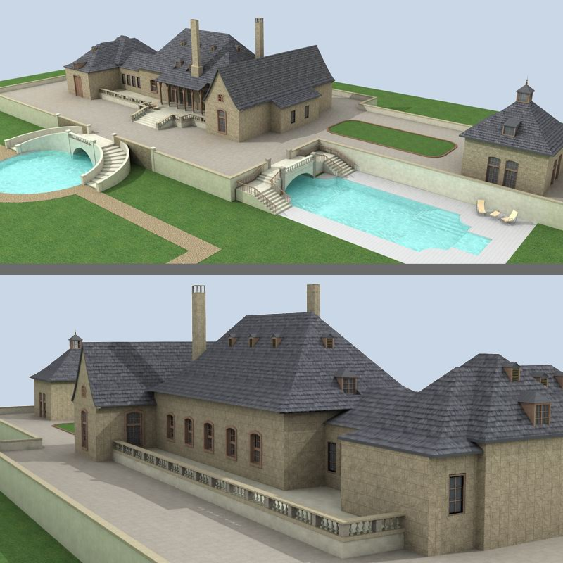 Big country house 1 3d models tonybaas for Big houses in the country