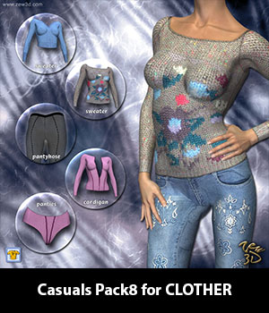 Casuals Pack8 for CLOTHER 3D Figure Assets zew3d