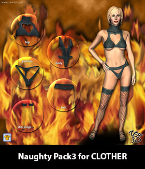 Naughty Pack3 for CLOTHER 3D Figure Assets zew3d
