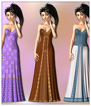 Gown and 6 Styles for Aiko 3 3D Figure Assets karanta