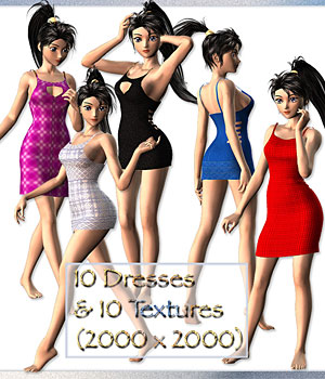 10 Dynamic Dresses for Aiko 3 3D Figure Assets karanta