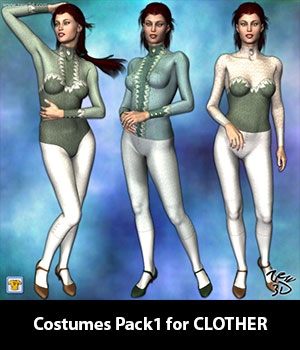 Costumes Pack1 for CLOTHER 3D Figure Assets zew3d