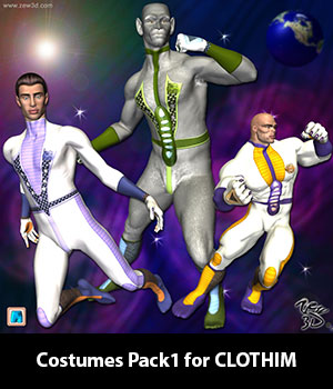 Costumes Pack1 for CLOTHIM 3D Figure Assets zew3d