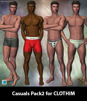 Casuals Pack2 for CLOTHIM 3D Figure Assets zew3d