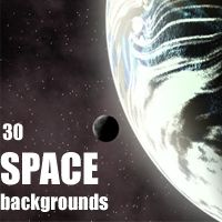 30 Space Backgrounds 3D Models 2D designfera