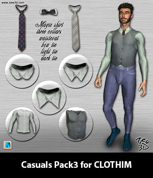 Casuals Pack3 for CLOTHIM 3D Figure Assets zew3d