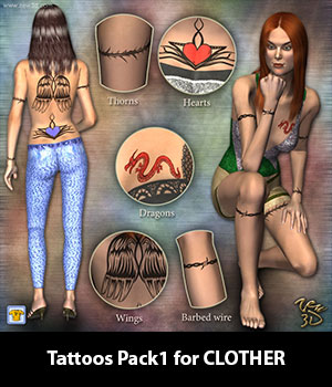 Tattoos Pack1 for CLOTHER 3D Figure Assets zew3d