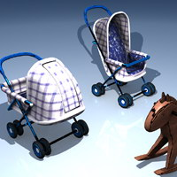 Baby Carriage Set + Rocking Horse 3D Models ralaci