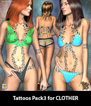 Tattoos Pack3 for CLOTHER 3D Figure Assets zew3d