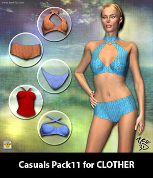 Casuals Pack11 for CLOTHER 3D Figure Assets zew3d