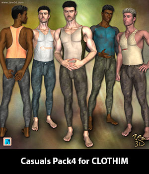 Casuals Pack4 for CLOTHIM 3D Figure Assets zew3d