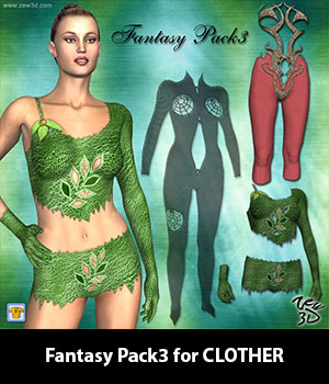 Fantasy Pack3 for CLOTHER 3D Figure Assets zew3d
