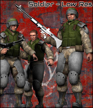 Soldier - Low Res (Poser, 3ds & Obj) 3D Models RPublishing
