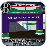 Monorail Station 2 (Poser & OBJ) 3D Models RPublishing