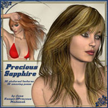 Precious Sapphire - real Hair and styles for Sapphire Fox Hair 3D Figure Assets 3D Models ilona