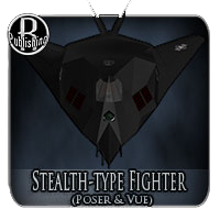Stealth-type Fighter (Poser, OBJ & Vue) Themed Transportation Stand Alone Figures RPublishing
