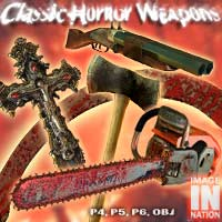 Classic Horror Weapons Pack 3D Models winnston1984