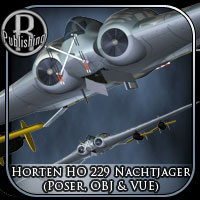 Horten HO 229 Nachtjager (Poser, OBJ & VUE) Themed Stand Alone Figures Transportation RPublishing