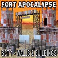 FORT APOCALYPSE SET 1- Set Design Kit for a Darker Future Props/Scenes/Architecture Themed kalebdaark