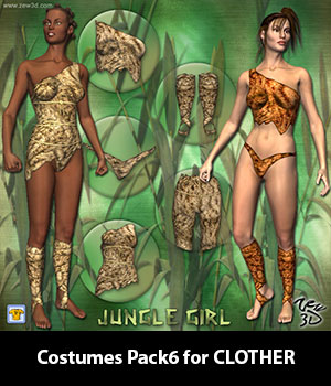 Costumes Pack6 for CLOTHER 3D Figure Assets zew3d