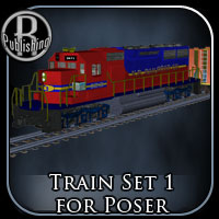 Train Set 1 (Poser & OBJ) Themed Props/Scenes/Architecture Transportation RPublishing