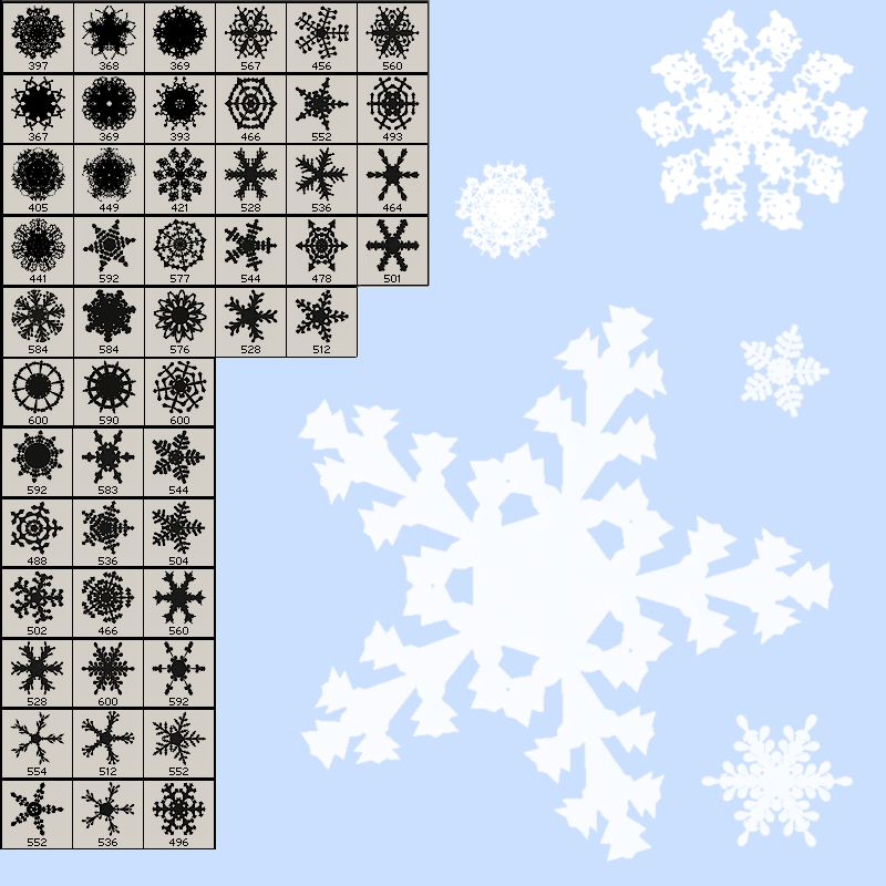 50 Photoshop Brushes of Snowflakes