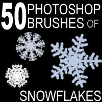50 Photoshop Brushes of Snowflakes by designfera