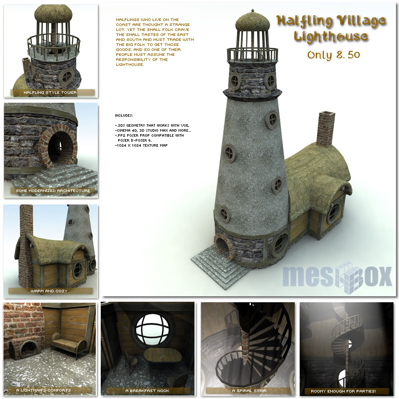 Halfling Village Lighthouse 1.0 (H1V201-3DS)
