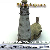 Halfling Village Lighthouse 1.0 (H1V201-3DS) Props/Scenes/Architecture Themed chikako