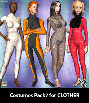 Costumes Pack7 for CLOTHER 3D Figure Assets zew3d