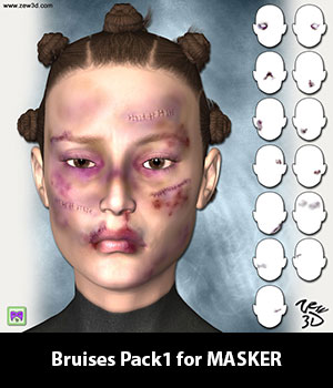 Bruises Pack1 for MASKER 3D Figure Assets zew3d