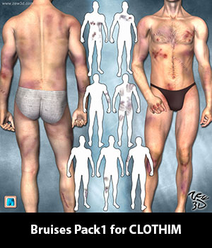 Bruises Pack1 for CLOTHIM 3D Figure Assets zew3d
