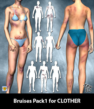 Bruises Pack1 for CLOTHER 3D Figure Assets zew3d