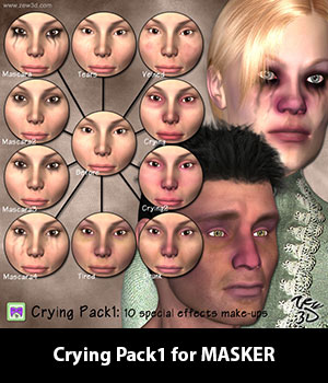 Crying Pack1 for MASKER 3D Figure Assets zew3d