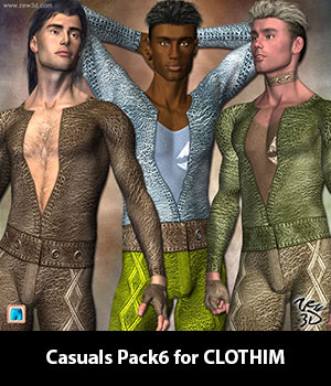 Casuals Pack6 for CLOTHIM 3D Figure Assets zew3d