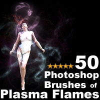 50 Photoshop Brushes of Plasma Flames 3D Models 2D designfera