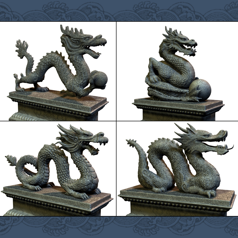Asian Dragon Statues