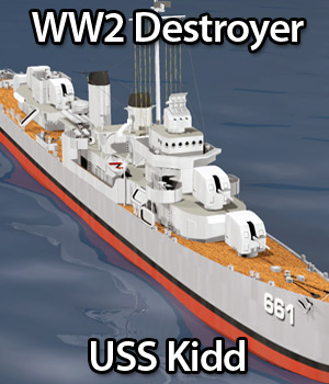 WW2 Destroyer - USS Kidd 3D Models RPublishing