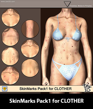 SkinMarks Pack1 for CLOTHER 3D Figure Assets zew3d