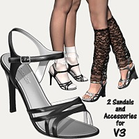 2 Sandals & Accessories For V3 3D Figure Essentials idler168