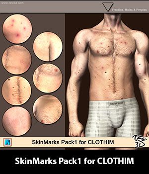 SkinMarks Pack1 for CLOTHIM 3D Figure Assets zew3d