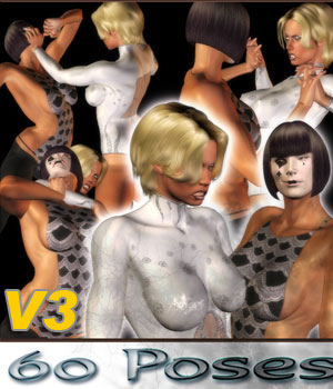 Catfight!  Poses 5 3D Figure Assets 3D Models Extended Licenses Darkworld