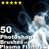 50 Photoshop Brushes of Plasma Flames 2 3D Models 2D designfera