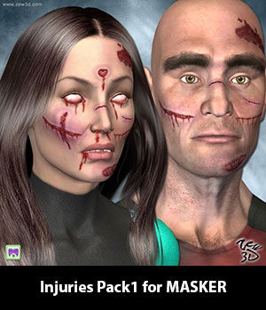 Injuries Pack1 for MASKER 3D Figure Assets zew3d