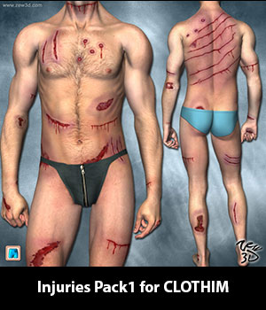 Injuries Pack1 for CLOTHIM 3D Figure Assets zew3d