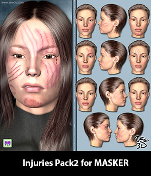Injuries Pack2 for MASKER 3D Figure Assets zew3d